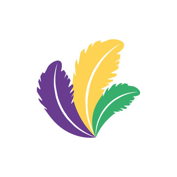 Isolated mardi gras feathers vector design