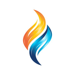 colorful flame water vector logo template