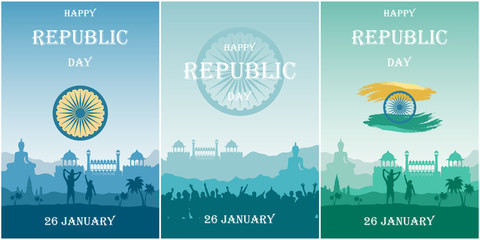 Foto auf Acrylglas Blau türkis Set cards for Republic Day of India. Silhouette of people outdoors and Red Fort on background of mountains landscape. Vector illustration for invitation cards for the independence celebration.