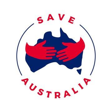 save australia hand hugs logo vector icon illustration