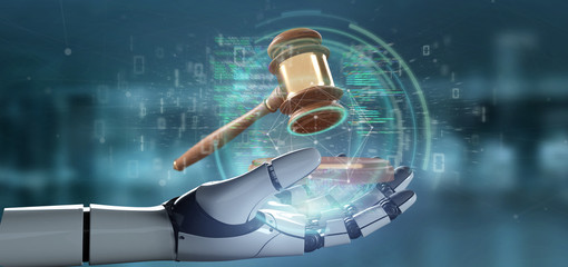 Cyborg hand holding Justice hammer and data - 3d rendering