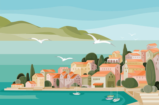 Mediterranean landscape with sea, mountains, beach and small houses with red roofs and seagulls flying over it all,