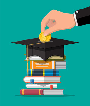 Graduation cap, open book and gold coin. Education savings and investment concept. Academic and school knowledge. Vector illustration in flat style