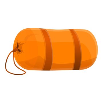 Camping sleeping bag icon. Cartoon of camping sleeping bag vector icon for web design isolated on white background
