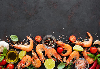 Fresh seafood - shrimps with vegetables