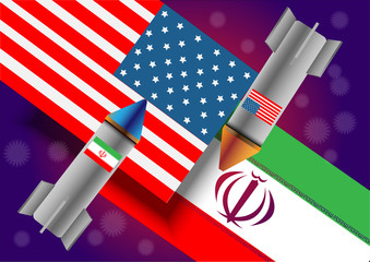 Conceptual picture of the nuclear conflict between the United States of America and Iran.