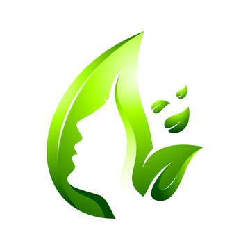 green leaf skin care vector logo template