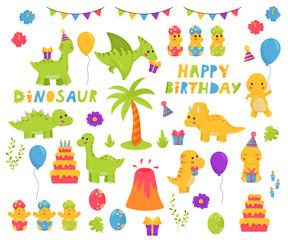 Kawaii vector dinosaurs cartoon character set. Birthday theme. Happy birthday lettering. Childish illustration for nursery.