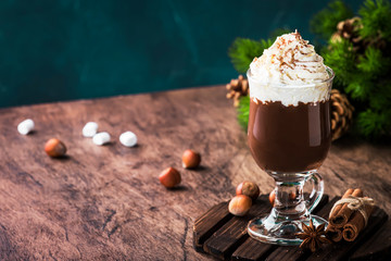 Poster Chocolate Hot chocolate with whipped cream and cocoa powder. Winter and autumn time. Christmas warm drink. Copy space