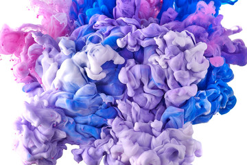 Fototapete - Ink in water. Splash acrilyc paint mixing. Multicolored liquid dye. Abstract  sculpture background color