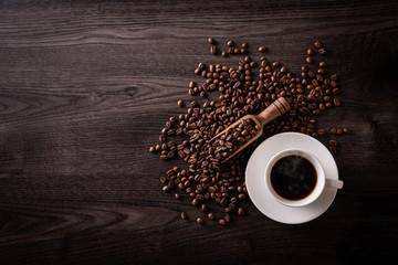 Foto op Textielframe Cafe ホットコーヒーとコーヒー豆