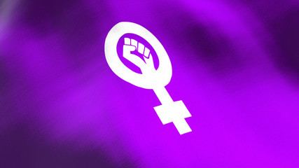 Feminist logo waving flag. Seamless cgi animation highly detailed fabric texture in cinematic slow motion. Women empowerment 3d background of fight for civil rights and equality symbol.