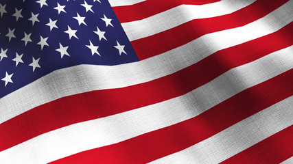 United States waving flag. Seamless cgi animation highly detailed fabric texture in cinematic slow motion. Patriotic US American 3d background government concept USA Memorial day, Veterans day