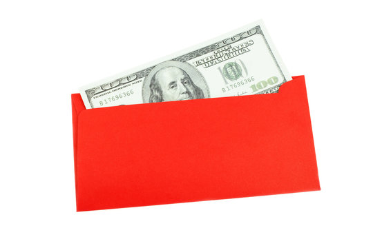 Money 100 Us dollar bills in a red envelope at white background