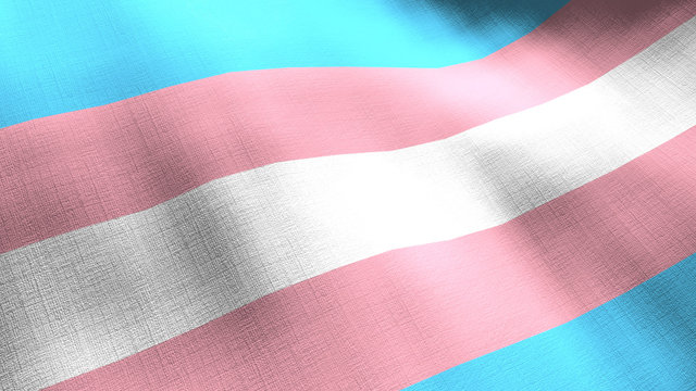 Transgender pride rainbow waving flag. Seamless cgi animation highly detailed fabric texture in cinematic slow motion. LGBTQ 3d background of fight for rights and equality symbol.