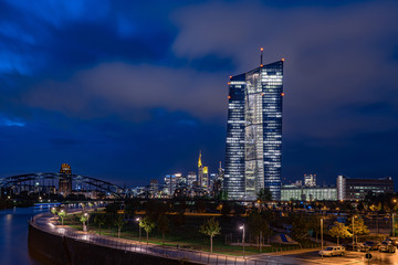 Frankfurt - ECB Tower in front of skyline from banking quarter