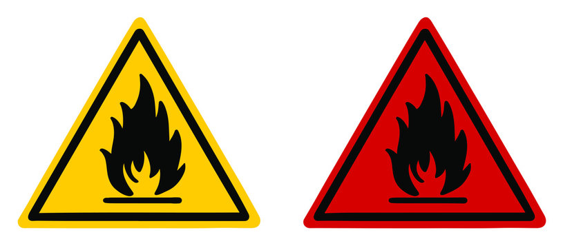 Hazard symbol fire safety warning sign. Yellow and red fire sign vector illustration.