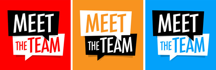 Meet the team on speech bubble