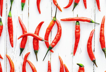Canvas Prints Hot chili peppers Hot red pepper on a white wooden vintage background.