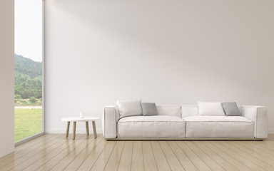 Perspective of modern luxury living room with white sofa on nature background, Minimal, Interior idea of large window. - 3D rendering.