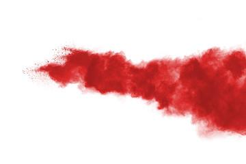 Garden Poster Smoke Red powder explosion on white background.