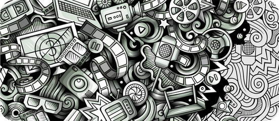 Cinema hand drawn doodle banner. Cartoon detailed flyer.