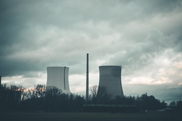 Nuclear Power Plant on the Field with Gray Clouds