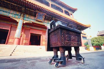 Fotobehang Bedehuis Beautiful view of the Lama temple in Beijing, China.