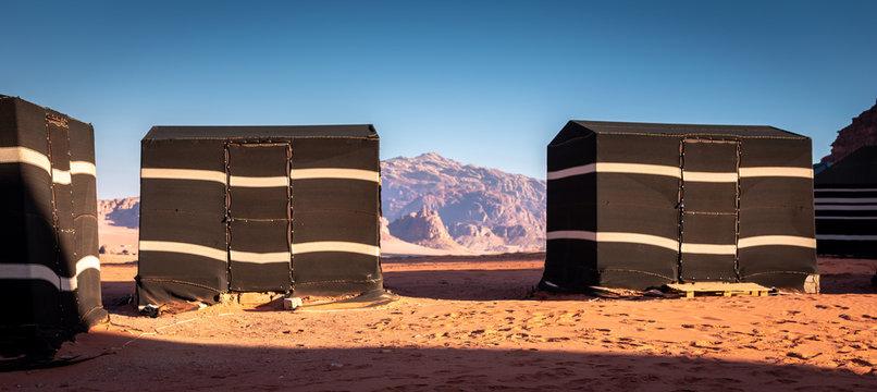 Beduin tourist tents in Wadi Rum desert, Jordan