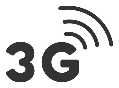 3G vector icon. Flat 3G symbol is isolated on a white background.