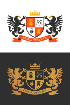 Coat of the arms. Two griffons hold a shield. Color and two-tone versions. Vintage design heraldic symbols and elements