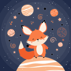 Door stickers Bestsellers Kids Cute red fox in space. The fox on the planet rides the stars. Stars, planets, constellations, comets. Vector illustration in a children's style. Print on postcard, poster, clothes.