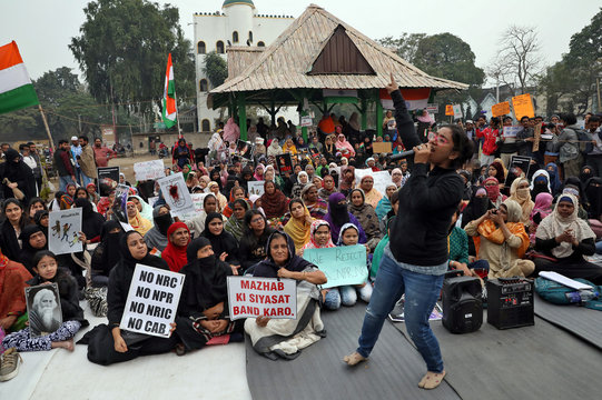 A sit-in protest against a new citizenship law at Park Circus Maidan in Kolkata
