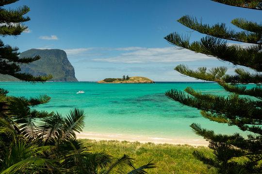 Lord Howe Island beach with pristine turquise water and coral reefs Tasman Sea.