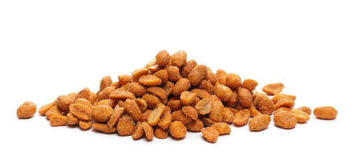 Spicy peanuts pile isolated on white background