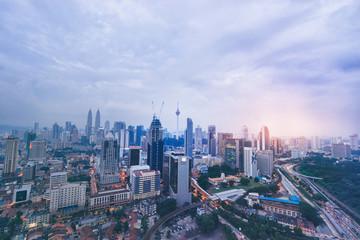 Poster Kuala Lumpur Beautiful cityscape with cloudy sky and scyscrapers. Megapolis Kuala-Lumpur.