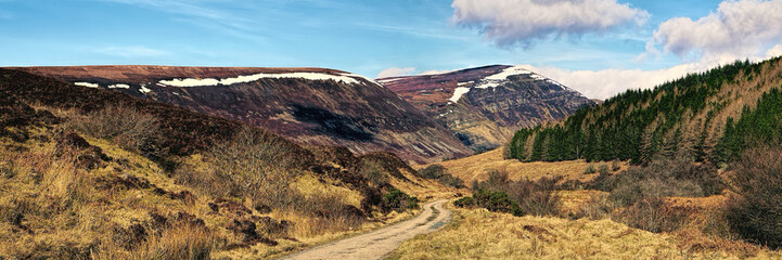 Single track road through Glen Loth in winter with a little snow on the hills