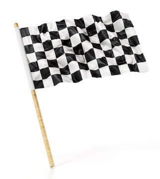 Checkered race flag isolated on white background. 3D illustration