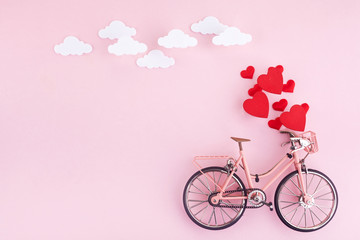 Photo Blinds Bicycle Happy Valentine's day. bicycle and flying hearts. Mother's Day or Women's Day, greeting cards, invitations and posters.