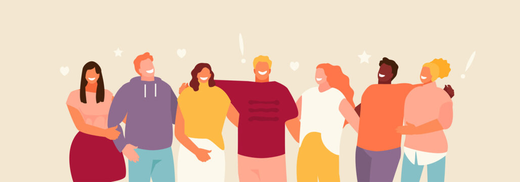 Group of standing young people hugging. Friendship and youth vector illustration