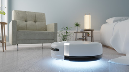 A vacuuming robot flying in the bedroom, Robot Vacuum, UV cleaner robot - 3D Rendering