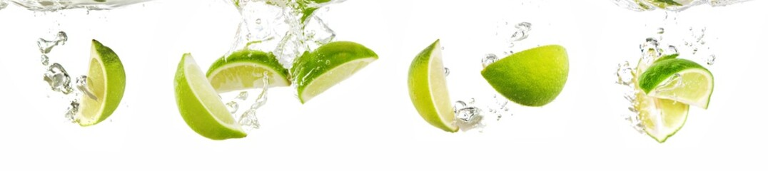Papiers peints Cascades Fresh lime dropped into water with splash isolated on white
