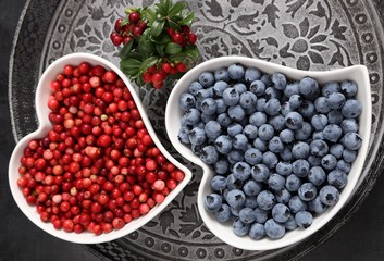 Blueberries and cowberries.