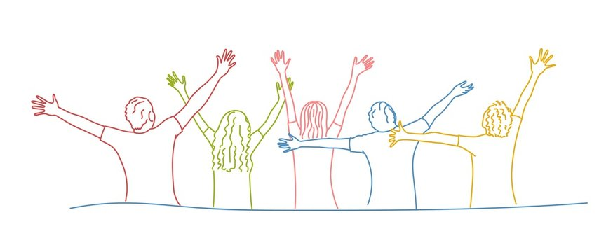 Group of friends stands with raised arms. Colour line drawing vector illustration.