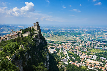 Wall Mural - Guaita fortress of San Marino with panoramic landscape