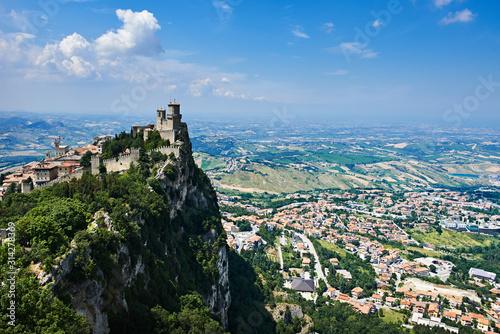 Wall mural Guaita fortress of San Marino with panoramic landscape