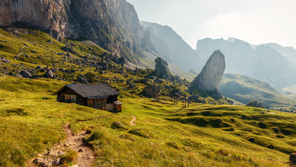 Canvas Prints Honey Beautiful alpine countryside. Awesome Alpine highlands in sunny day. Amazing Nature Scenery of Dolomites Alps. Epic Scene in the mountains place near Seceda peak. Val Gardena. Dolomiti alp. Italy