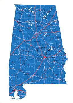 Alabama state political map
