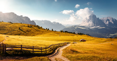 Fotomurales - Dolomites, Italy Landscape at Passo Gardena with majestic Sella mountain group in northwestern Dolomites. Famous travel destination for adventure, trekking, hiking and outdoor activity.