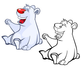 Vector Illustration of a Cute Cartoon Character Polar Bear for you Design and Computer Game. Coloring Book Outline
